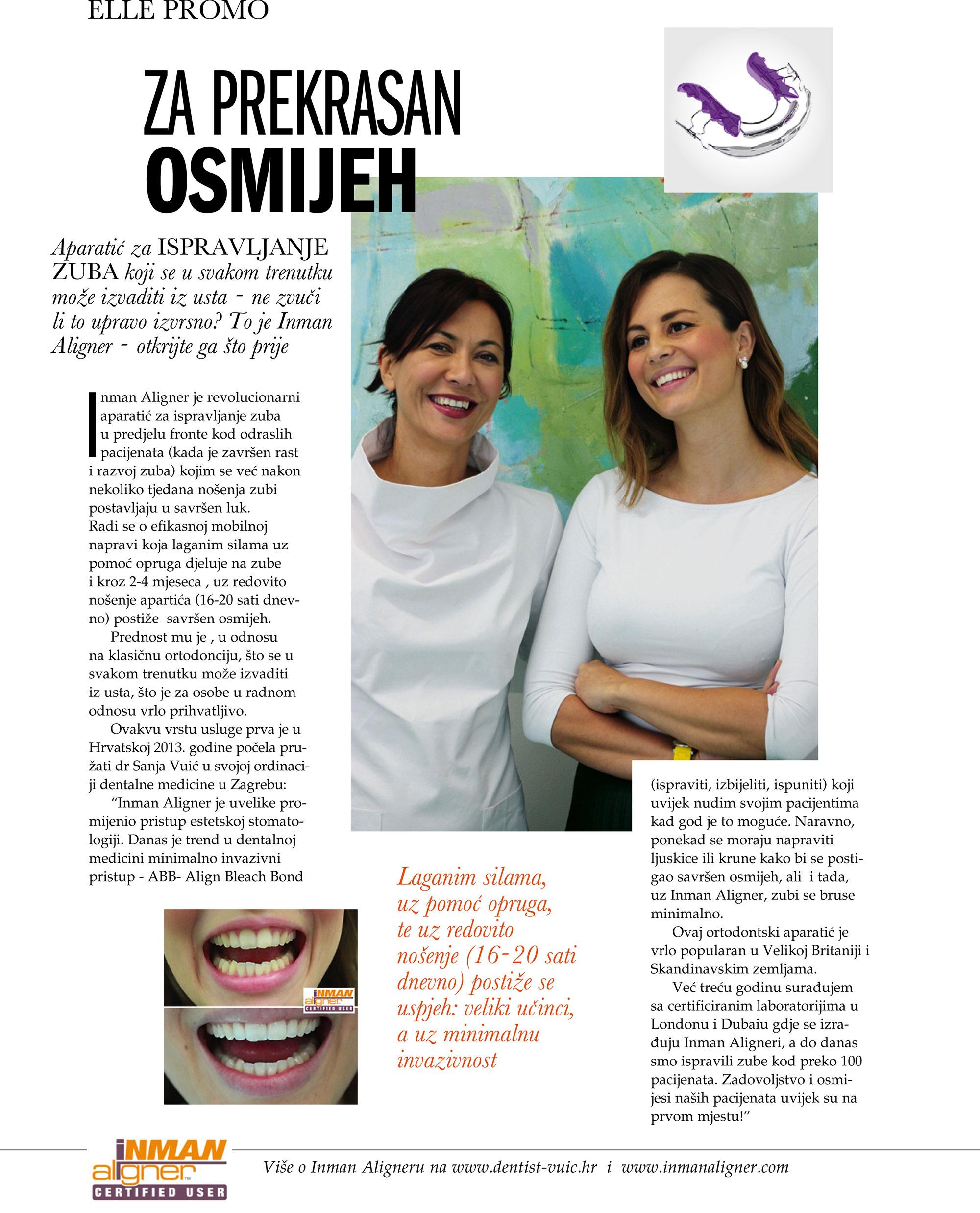Promotivni članak o terapiji aparatićem Inman Aligner u Ordinaciji Vuić u časopisu Elle