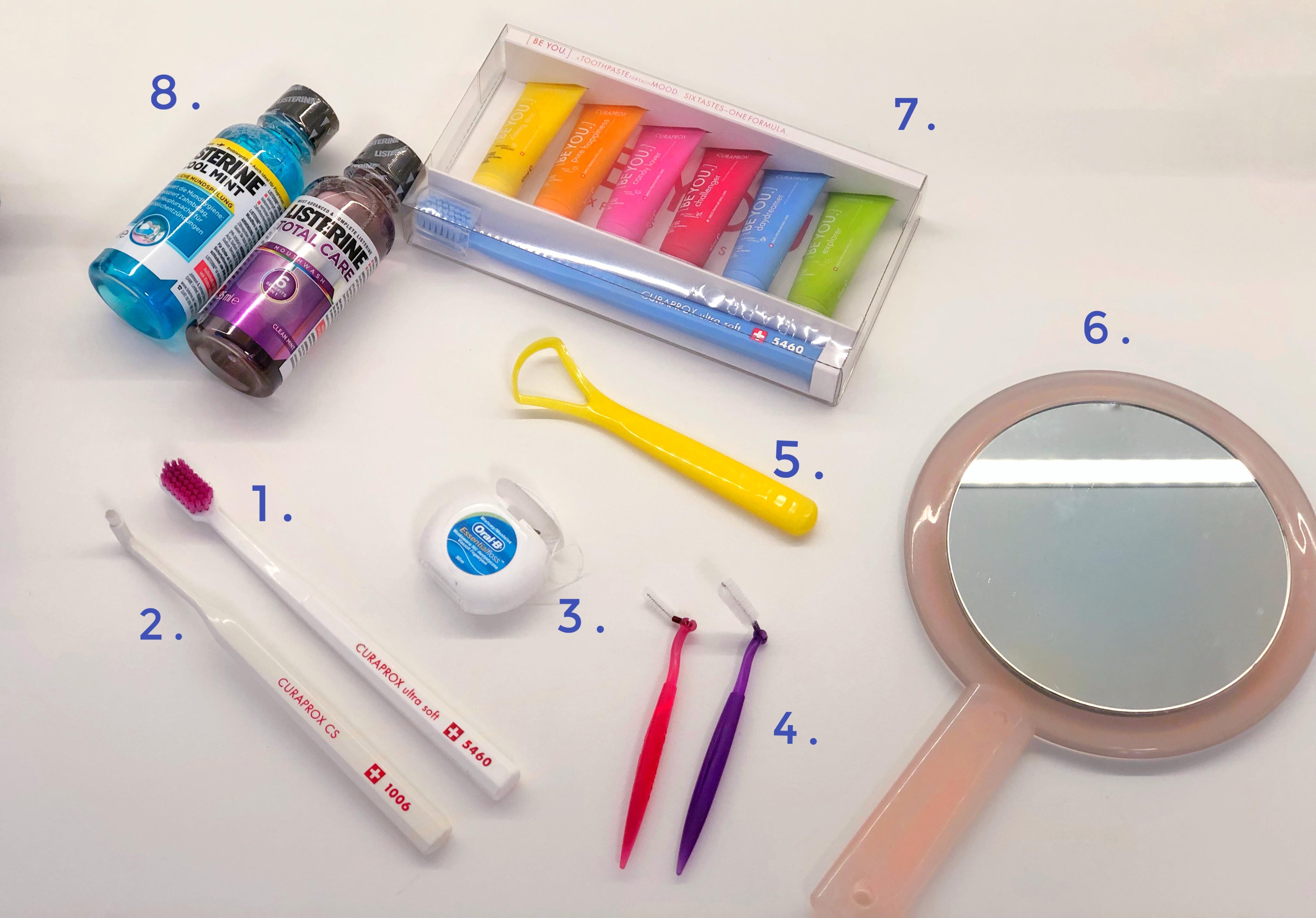 Set za oralnu higijenu: četkice za zube, zubni konac, interdentalne četkice, strugalica za jezik, ogledalo, pasta za zube, vodica za ispiranje